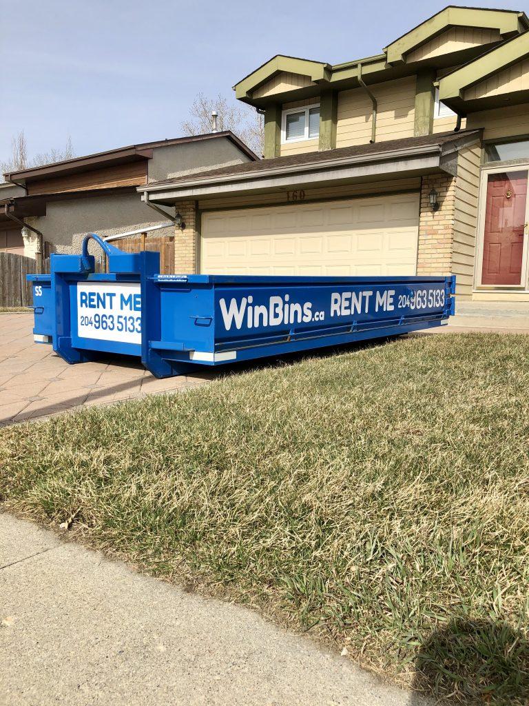 Winnipeg Bin & Dumpster Rentals by WinBins - 4 Yard in Brick Driveway 1
