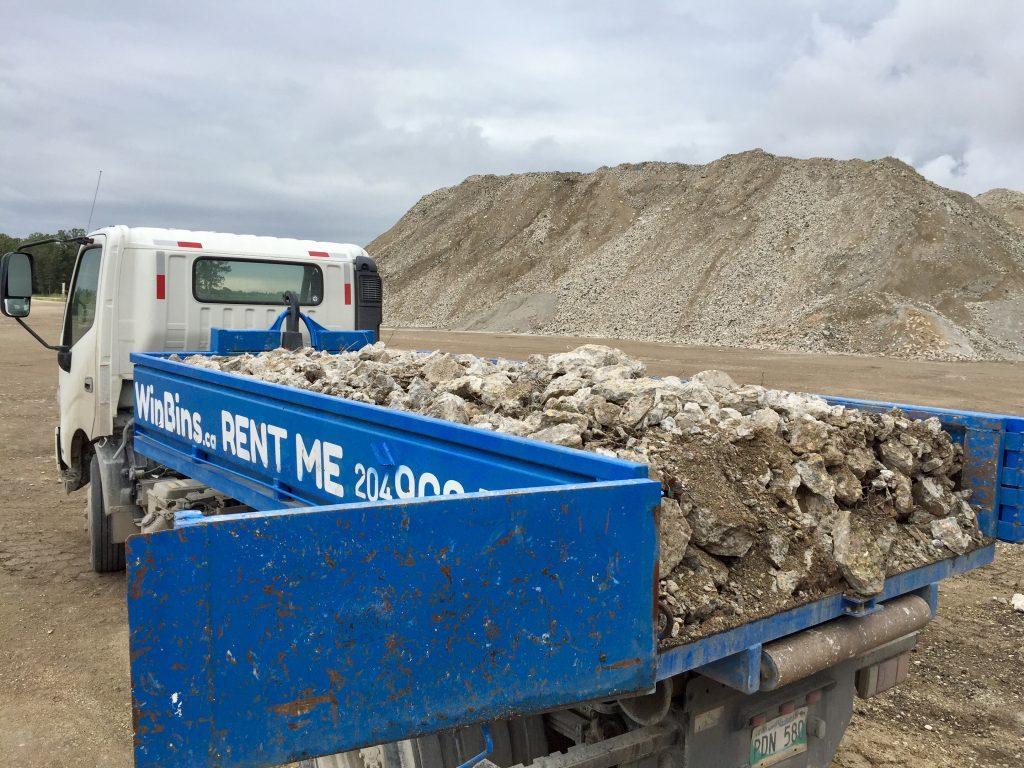 Winnipeg Bin & Dumpster Rentals by WinBins - WinBins Maple Leaf concrete 4 yard full